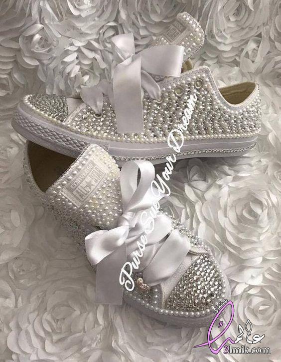 أحدث صيحات لـكوتشي العروسة،كوتشى للعروسه،اروع احذية العروسة،احذية بناتى،جزم بنات ابيض تحفة2018