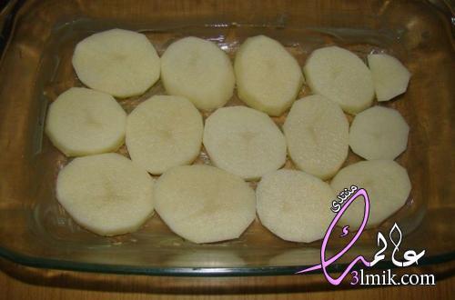 تحضير البطاطس بالبشاميل،طريقة عمل صنية بطاطس بالبشاميل باللحمة المفرومة،بطاطس حلقات بالبشاميل