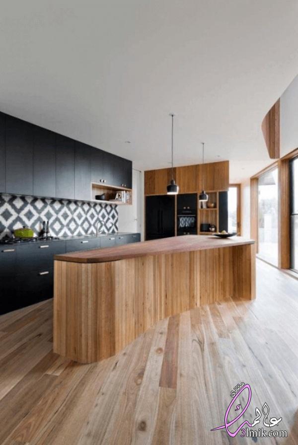 افكار مثيرة للمطبخ الامريكي المودرن،تصاميم مثيرة من المطابخ العصرية2018،افكار مطابخ ابيض واسود مودرن