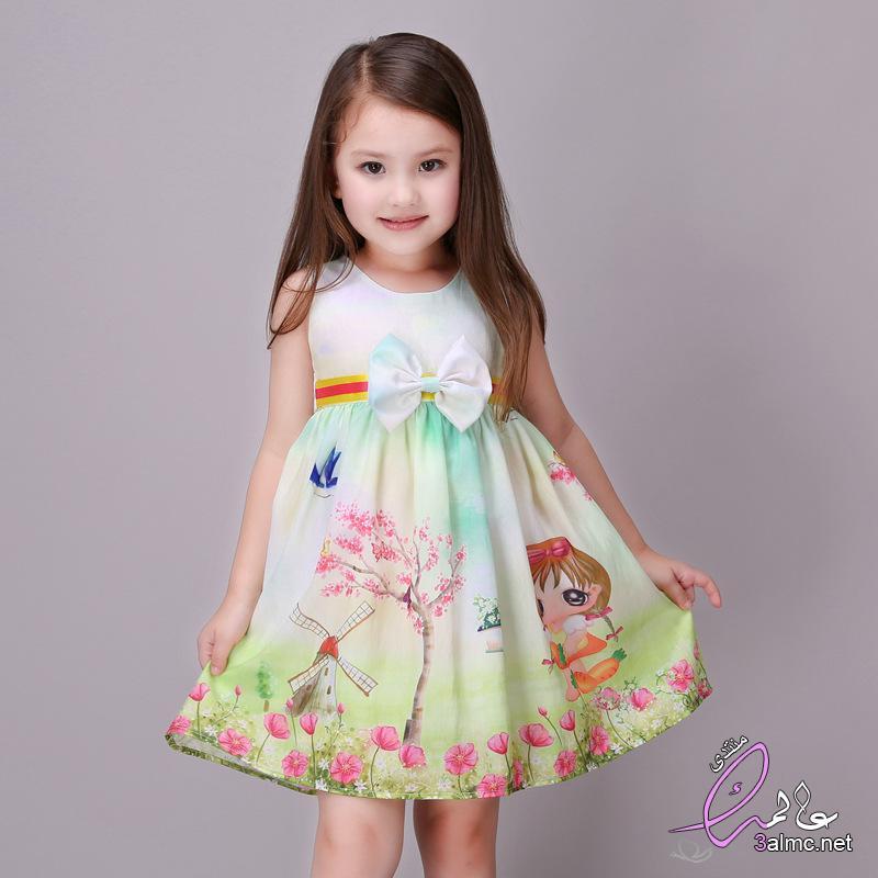 07a9f218a فساتين اطفال روعه.ملابس اطفال لصيف 2018.ازياء اطفال اكثر جاذبية.فساتين قماش