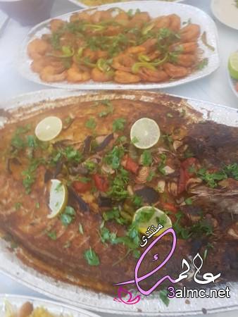 طريقة عمل سمك وشوربة روبيان جمبري بلسان العصفور والكريمةوصينية جمبري ارز بسمتي وسلطة خضرا سلطة