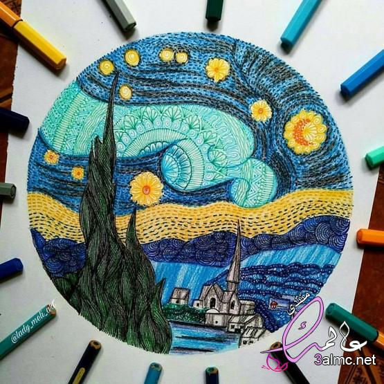 فن الخربشات,خربشات فنية طريفة ورائعة على كراسات الدراسة,رسم خربشات بقلم الحبر بالتصوير السريع