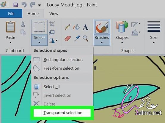 كيفية جعل الخلفية شفافة في برنامج الرسام
