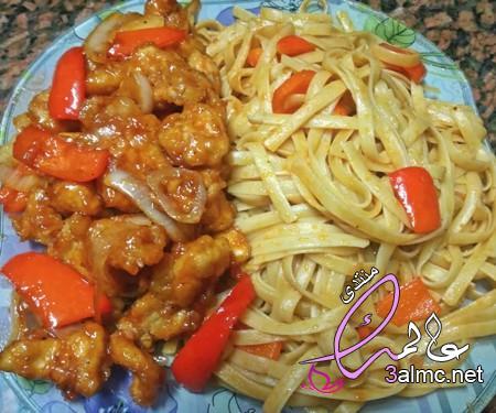دجاج سويت اند ساور مع النودلز الصيني طعمها تحفه وزي المطاعم بالظبط