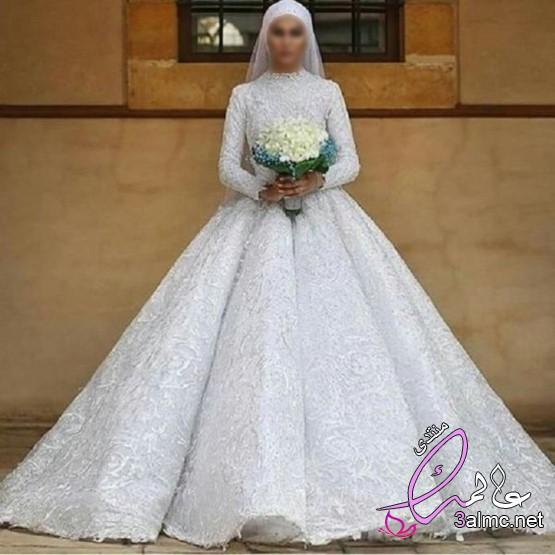 مجموعة متنوعة من فساتين الزفاف محجبات,افخم فساتين الافراح,صور فساتين زفاف مصرية للمحجبات جنان2020