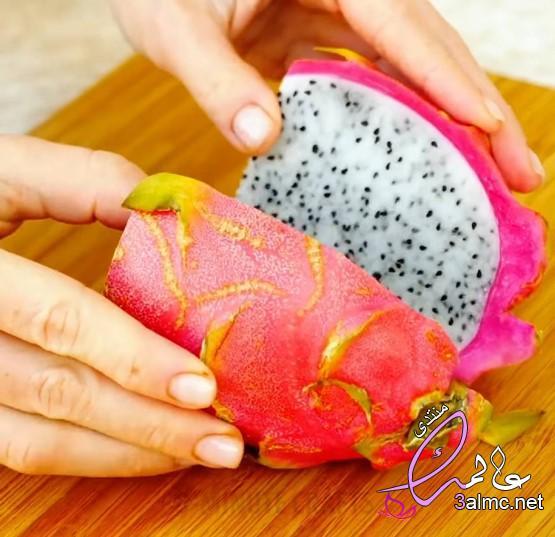 طريقة تقشير فاكهه دراجون فروت,طريقة قطع وتناول فاكهة التنين How to cut and eat Dragon Fruit