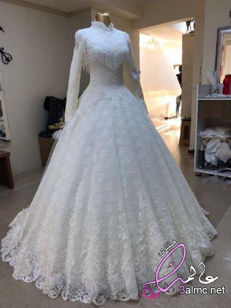 فساتين زفاف فخمه للمحجبة,فساتين افراح,فستان زفاف 2019,احدث فساتين الزفاف للمحجبات