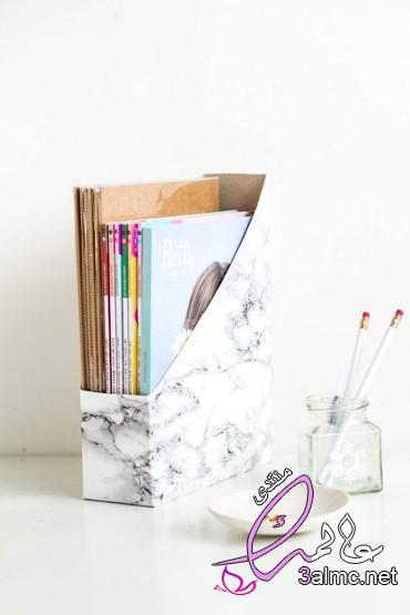 منظم للكتب أو حاوية لتنظيم الكتب اصنعيها بنفسك,طريقه عمل منظم لأدوات المكتب من الكرتون