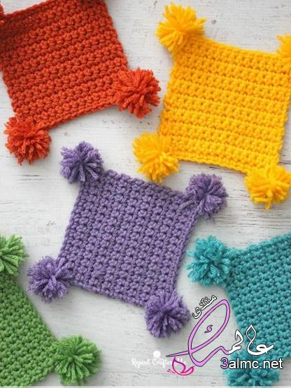 Crochet art،كروشيه قواعد أكواب على شكل وردة مجسمة،كوسترات خشب كروشيه 2020
